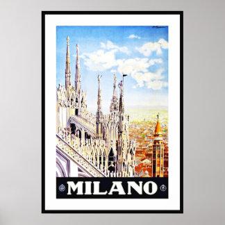 Vintage Poster Print Milano Milan Italy Large