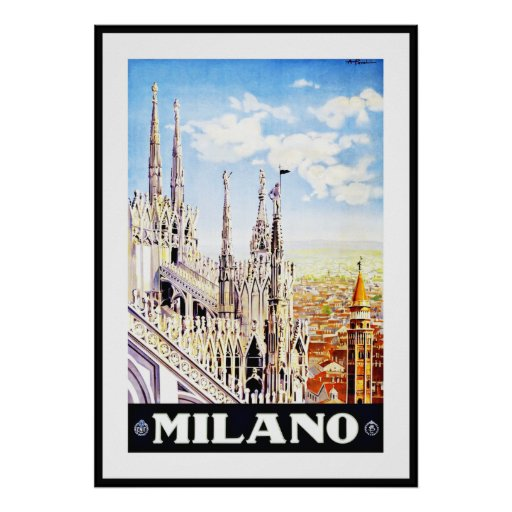 Vintage Poster Print Milano Milan Italy Large Posters