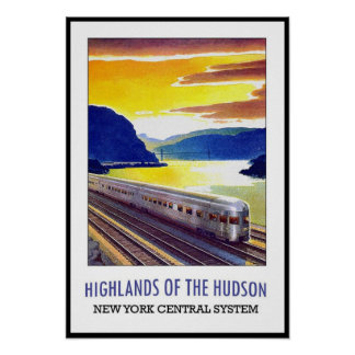 Vintage Poster Print New York Hudson Train
