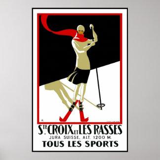 Vintage Poster Print Ste Croix Skiing