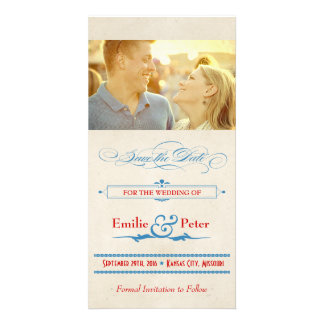 Vintage Poster Red, White & Blue Save the Date Personalized Photo Card