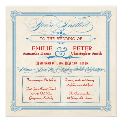 Vintage Poster Red, White & Blue Square Wedding Invitations