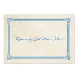 Vintage Poster Red, White & Blue Wedding & RSVP 9 Cm X 13 Cm Invitation Card