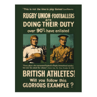 Vintage Poster: Rugby players call for duty Postcard