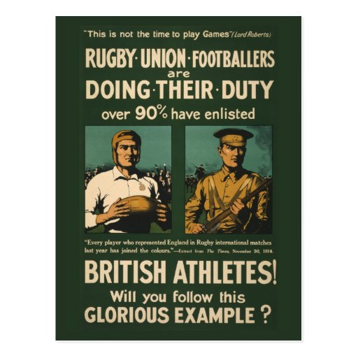 Vintage Poster: Rugby players call for duty Post Cards