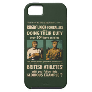 Vintage Poster: Rugby players call for duty Tough iPhone 5 Case