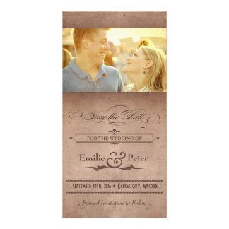 Vintage Poster Rustic Cocoa Save the Date Customised Photo Card
