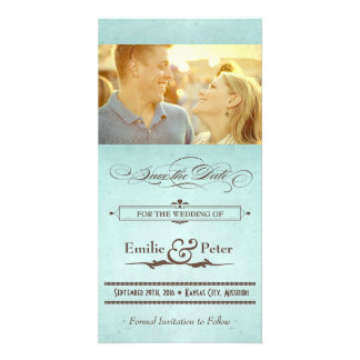 Vintage Poster Seafoam Blue & Brown Save the Date Picture Card