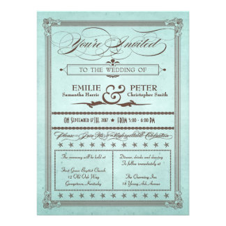 Vintage Poster Style Blue & Brown Wedding Invite