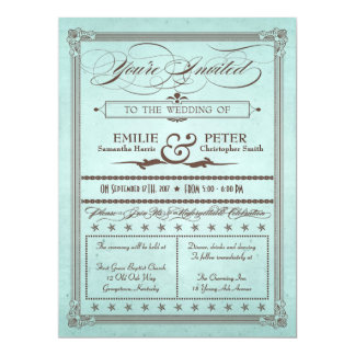 "Vintage Poster Style Blue & Brown Wedding Invite 6.5"" X 8.75"" Invitation Card"
