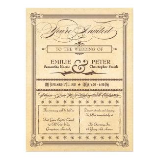 Vintage Poster Style Cream & Brown Wedding Invite