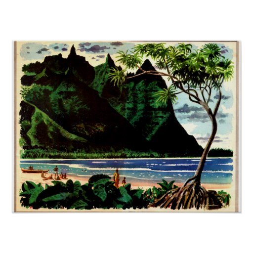 Vintage Poster, Tropical Island Beach