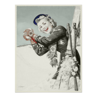 Vintage Poster with Winter Holiday Print