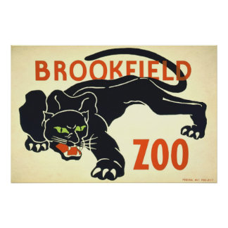 Vintage Posters,Brookfield Zoo Black Panther WPA Poster