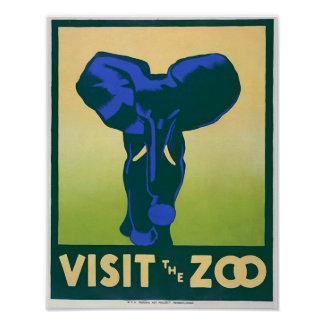 Vintage Posters, Visit the Zoo Elephant WPA Poster