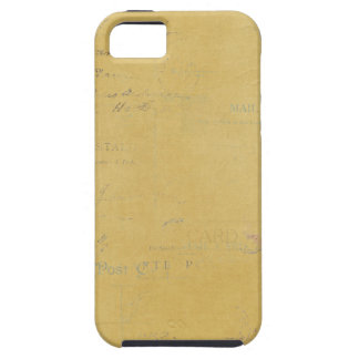vintage postmarks on yellow background iPhone 5/5S case