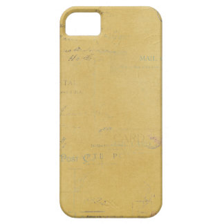 vintage postmarks on yellow background iPhone 5 case
