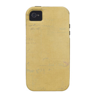 vintage postmarks on yellow background vibe iPhone 4 cases