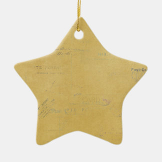 vintage postmarks on yellow background christmas tree ornament