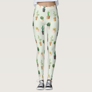 Vintage Potted Cacti Plants Succulents Leggings