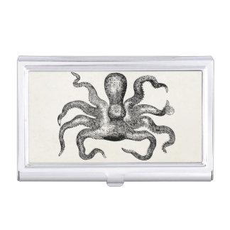 Vintage Poulpe Octopus  - Cuttlefish Template Business Card Holder