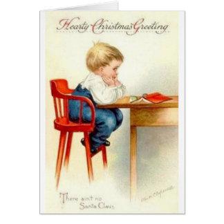 Vintage Pouting Christmas Boy Christmas Card