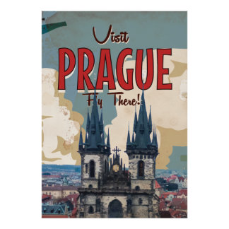 Vintage Prague, Czech Republic Travel Poster