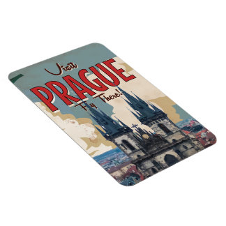 Vintage Prague, Czech Republic Travel Poster Magnet