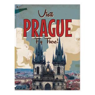 Vintage Prague, Czech Republic Travel Poster Post Card