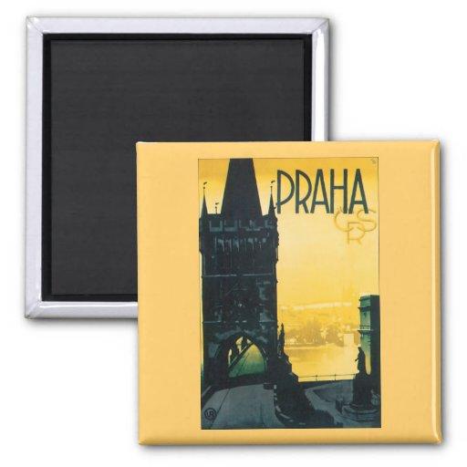 Vintage Prague (Praha) Poster Fridge Magnet