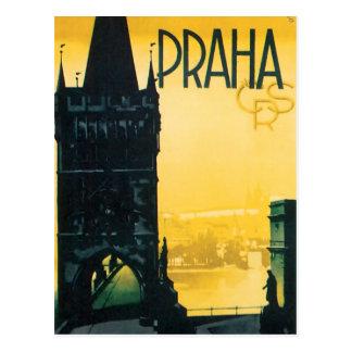 Vintage Prague (Praha) Travel Poster Postcard