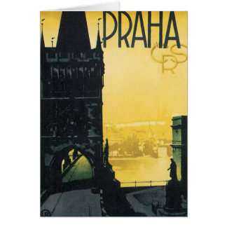 Vintage Praha Poster Card