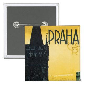 Vintage Praha Poster Pinback Button
