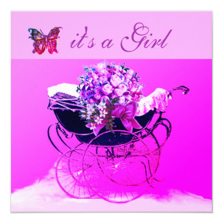 VINTAGE PRAM,FLOWERS,BUTTERFLIES PINK BABY SHOWER CARD
