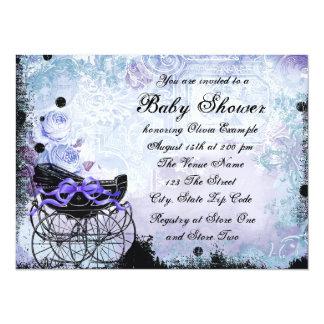 "Vintage Pram Lavender Purple Baby Shower 5.5"" X 7.5"" Invitation Card"
