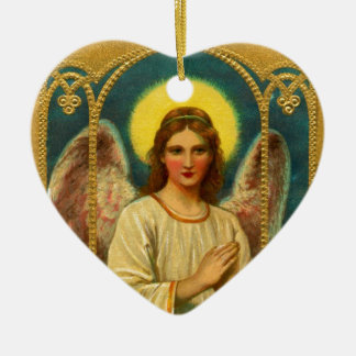 Vintage Praying Angel Red Yellow Ceramic Heart Decoration