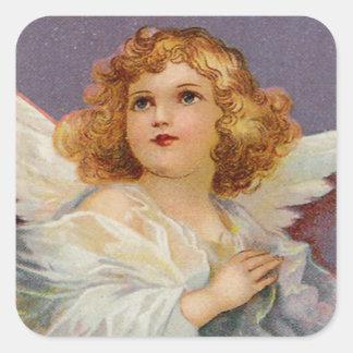 Vintage Praying Angel Square Sticker