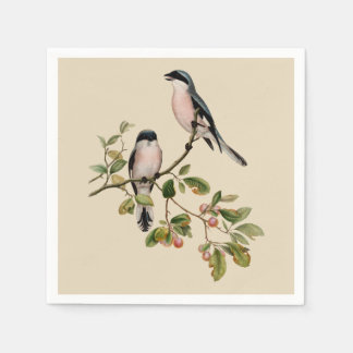 Vintage Pretty Birds on Beige Disposable Napkin