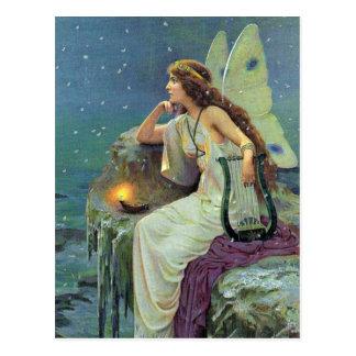 Vintage Pretty Fairy Fae Harp Candle Ocean Postcard