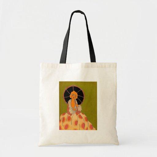 Vintage Pretty Girl With Parasol Illustration Canvas Bag