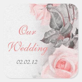 Vintage Primrose Pink Rose Wedding Envelope Seal