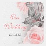 Vintage Primrose Pink Rose Wedding Envelope Seal Square Stickers