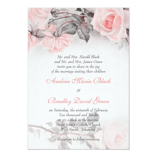 Vintage Primrose Pink Rose Wedding Invitation