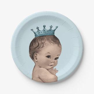 Vintage Prince Baby Shower Blue Paper Plate
