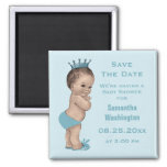 Vintage Prince Baby Shower Save the Date Blue Square Magnet