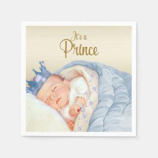 Vintage Prince Blue Gold Baby Shower Disposable Serviettes