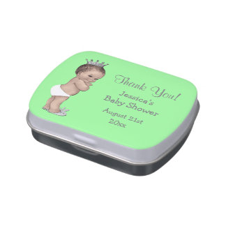 Vintage Prince Boys Baby Shower Mint Silver Jelly Belly Candy Tin