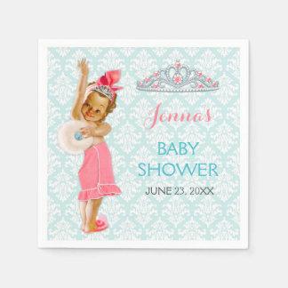 Vintage Princess Baby Girl Tiara Pink & Aqua Disposable Serviettes