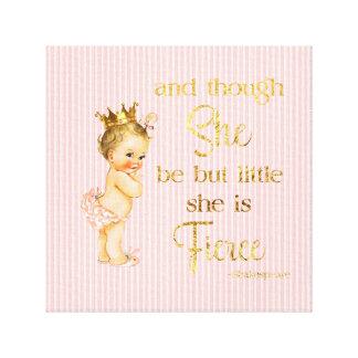 Vintage Princess Baby Gold Crown Fierce Quote Canvas Print
