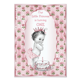 Vintage Princess Baby Pink Roses 1st Birthday Cake 13 Cm X 18 Cm Invitation Card